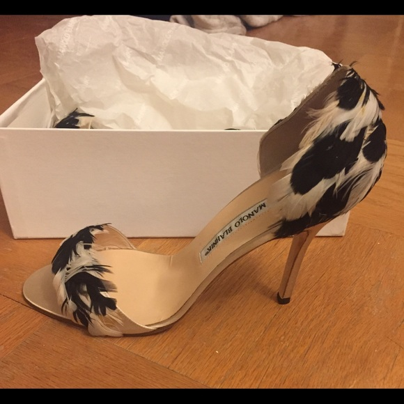 Manolo Blahnik Feather Shoe New Never